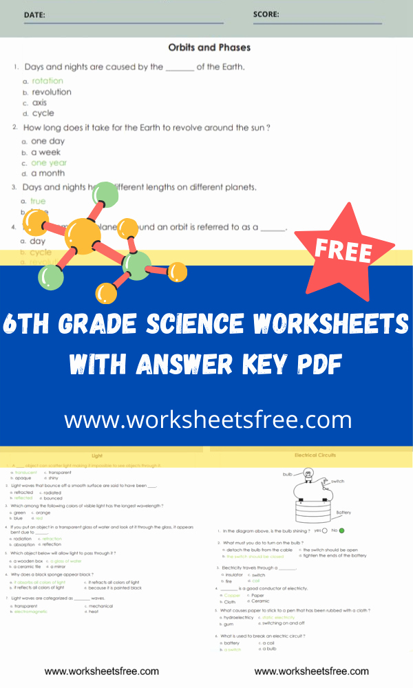 Free 6th Grade Science Worksheets Fresh 6th Grade Science Worksheets with Answer Key Pdf