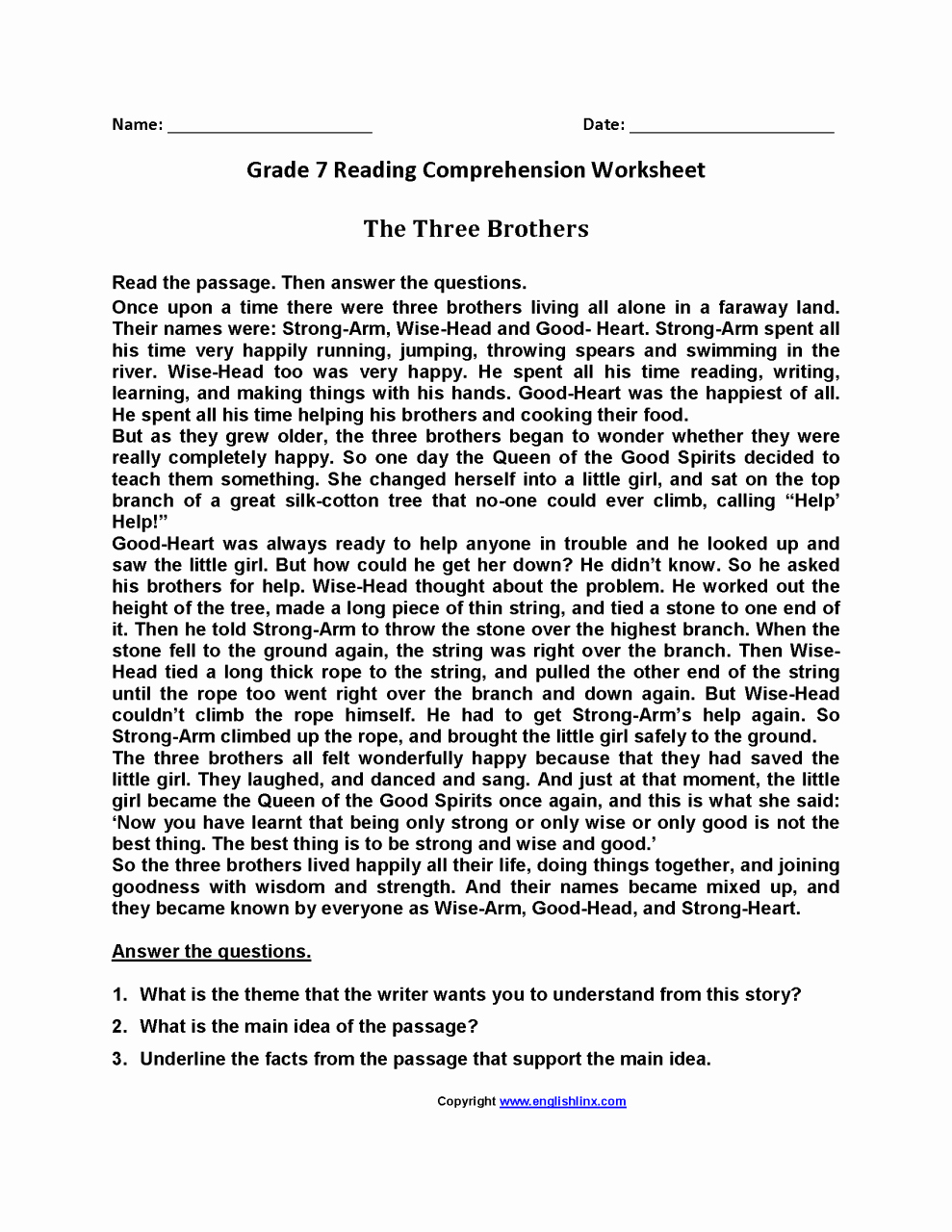 Free 7th Grade Reading Worksheets Awesome 7th Grade English Worksheets Year 7 Kidsworksheetfun