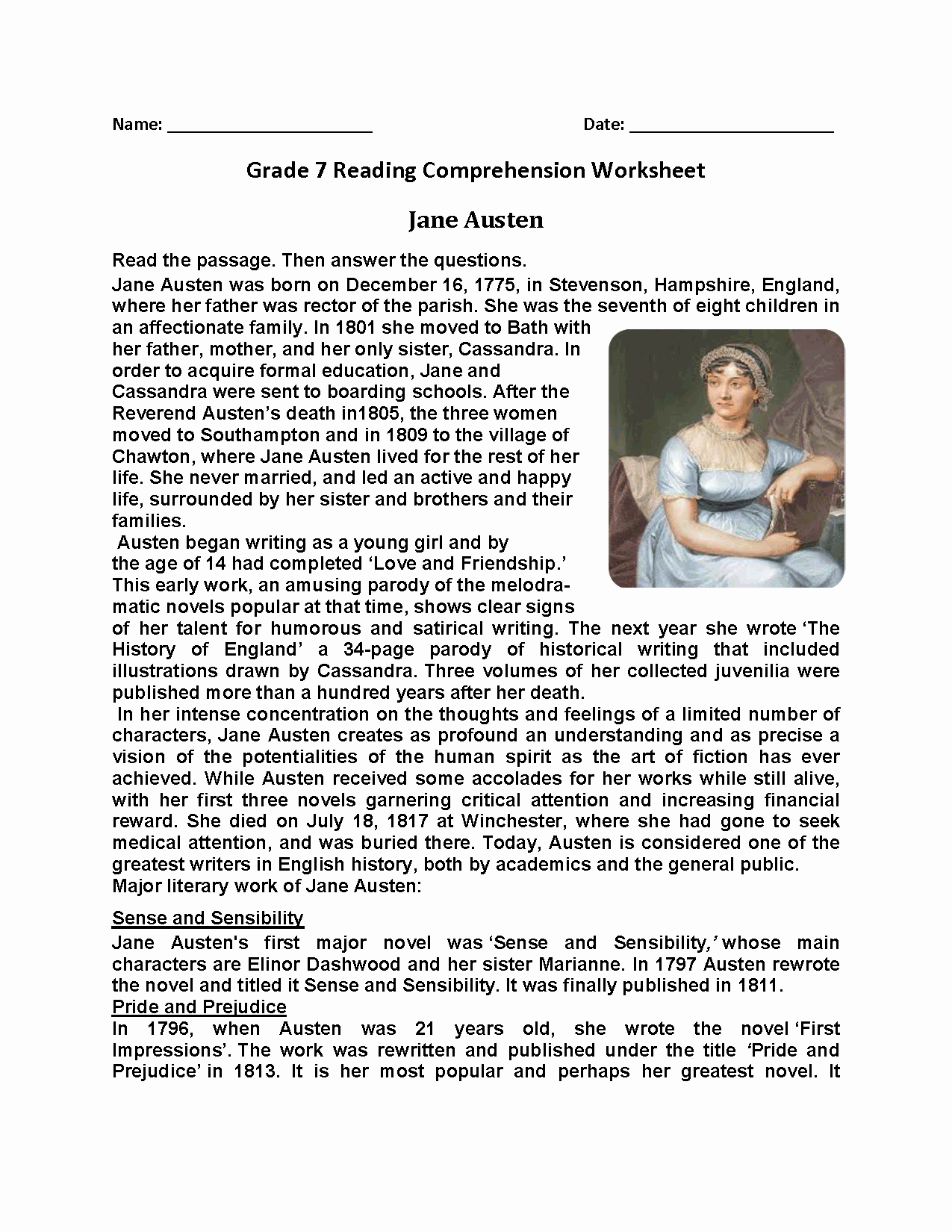 Free 7th Grade Reading Worksheets Awesome Reading Worksheets