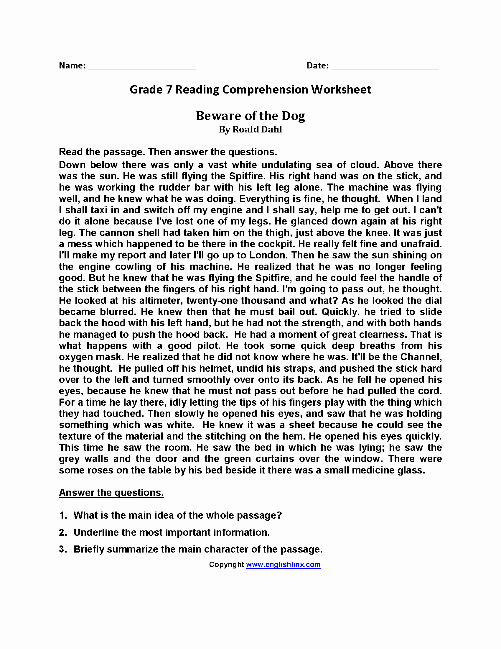 Free 7th Grade Reading Worksheets Awesome Worksheet Free Printable 7th Grade Reading Prehension