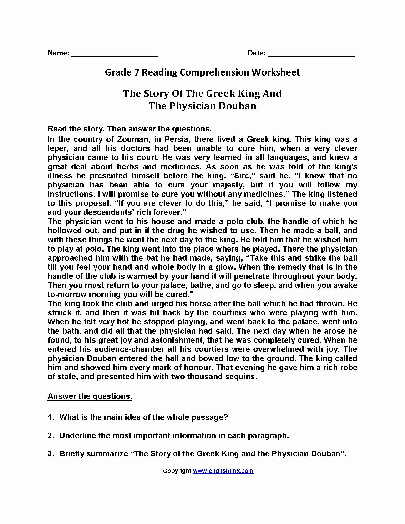Free 7th Grade Reading Worksheets Beautiful 7th Grade English Reading Worksheets Tutorial Worksheet