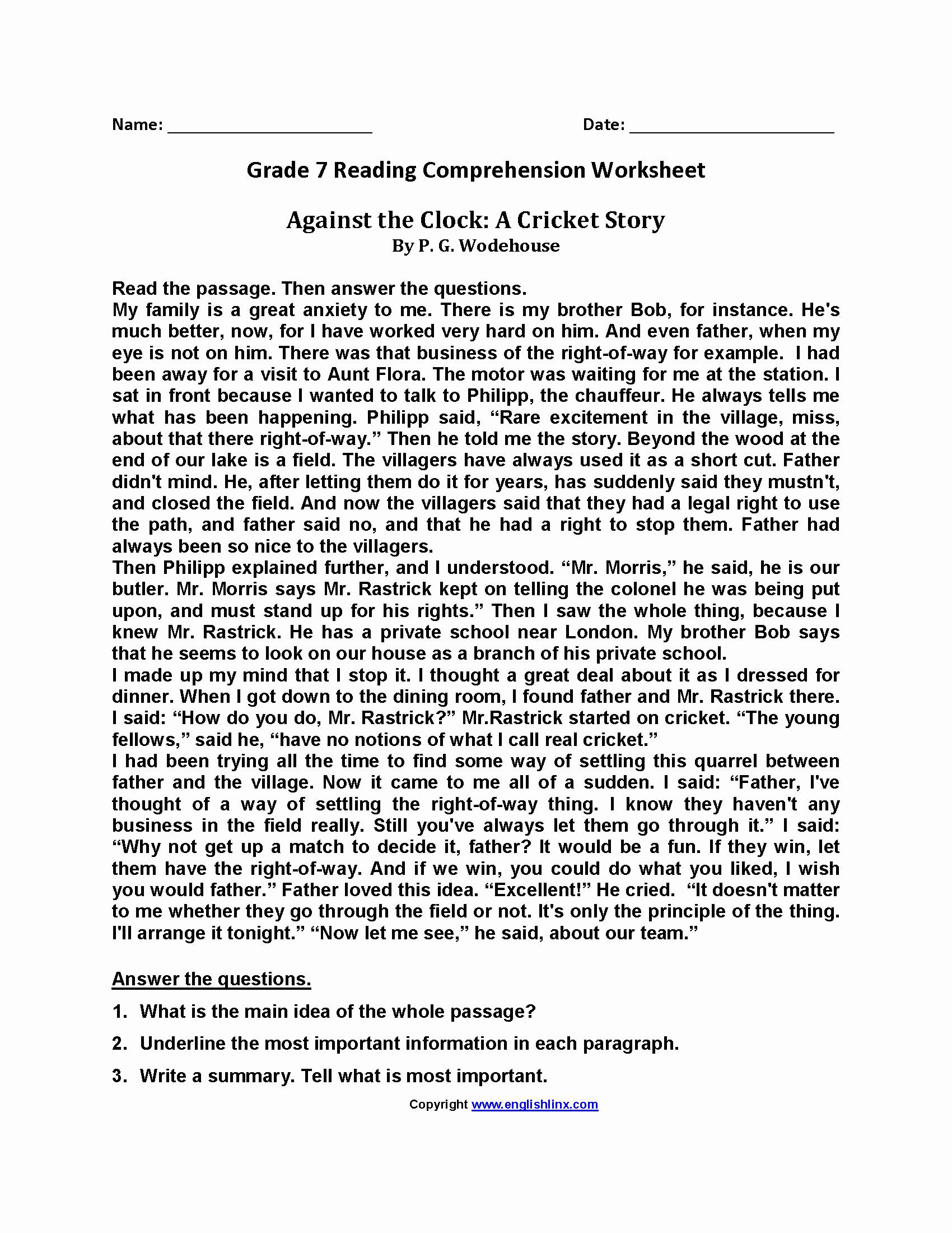 Free 7th Grade Reading Worksheets Beautiful Reading Worksheets