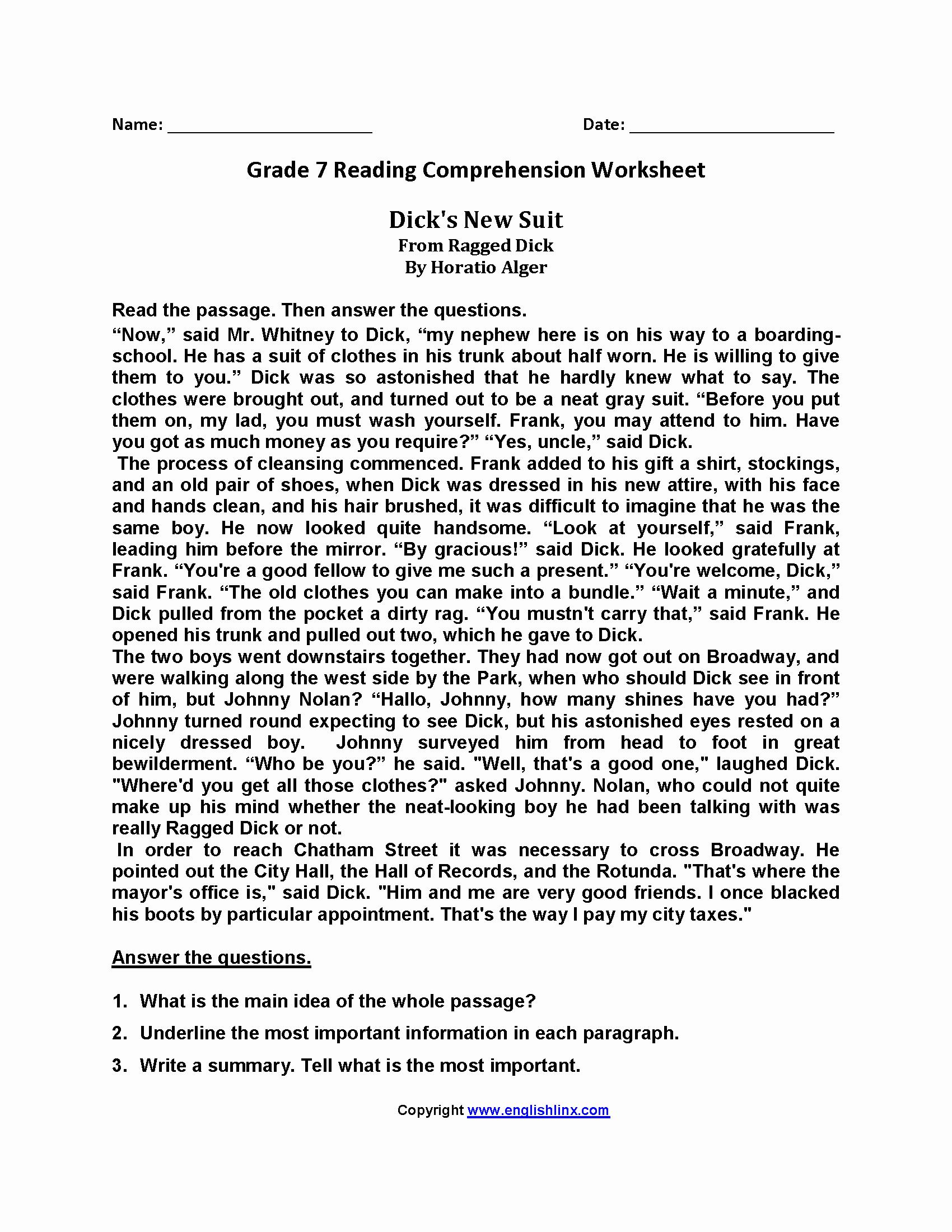 Free 7th Grade Reading Worksheets Elegant Reading Worksheets