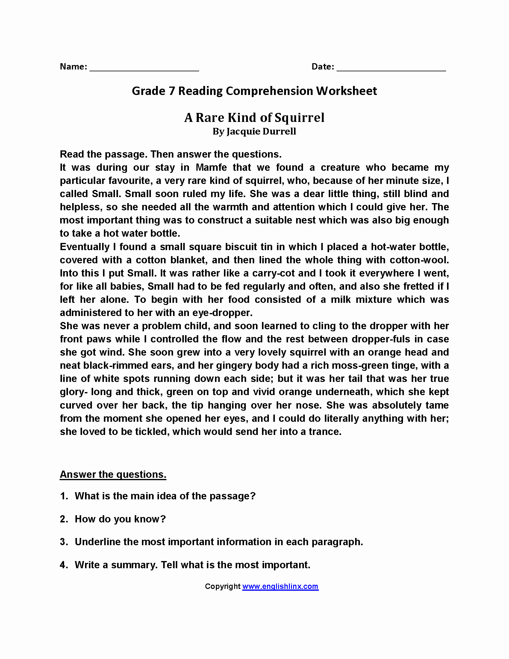 Free 7th Grade Reading Worksheets Lovely 7th Grader Grade 7 Reading Prehension Worksheets Pdf