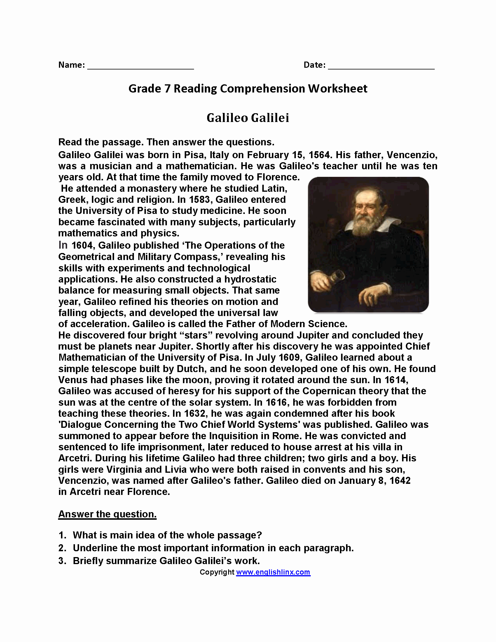Free 7th Grade Reading Worksheets Lovely Reading Prehension Worksheets 7th Grade