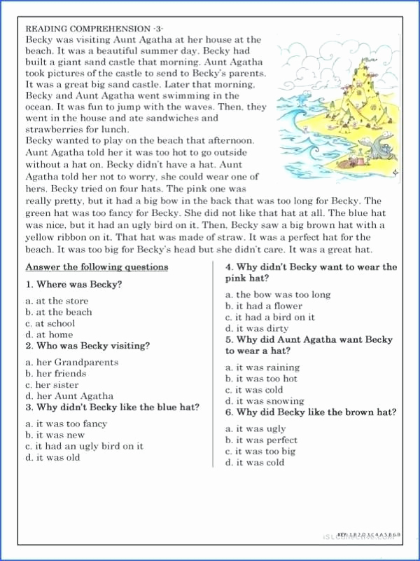 Free 7th Grade Reading Worksheets Luxury 7th Grade Reading Prehension Worksheets Pdf