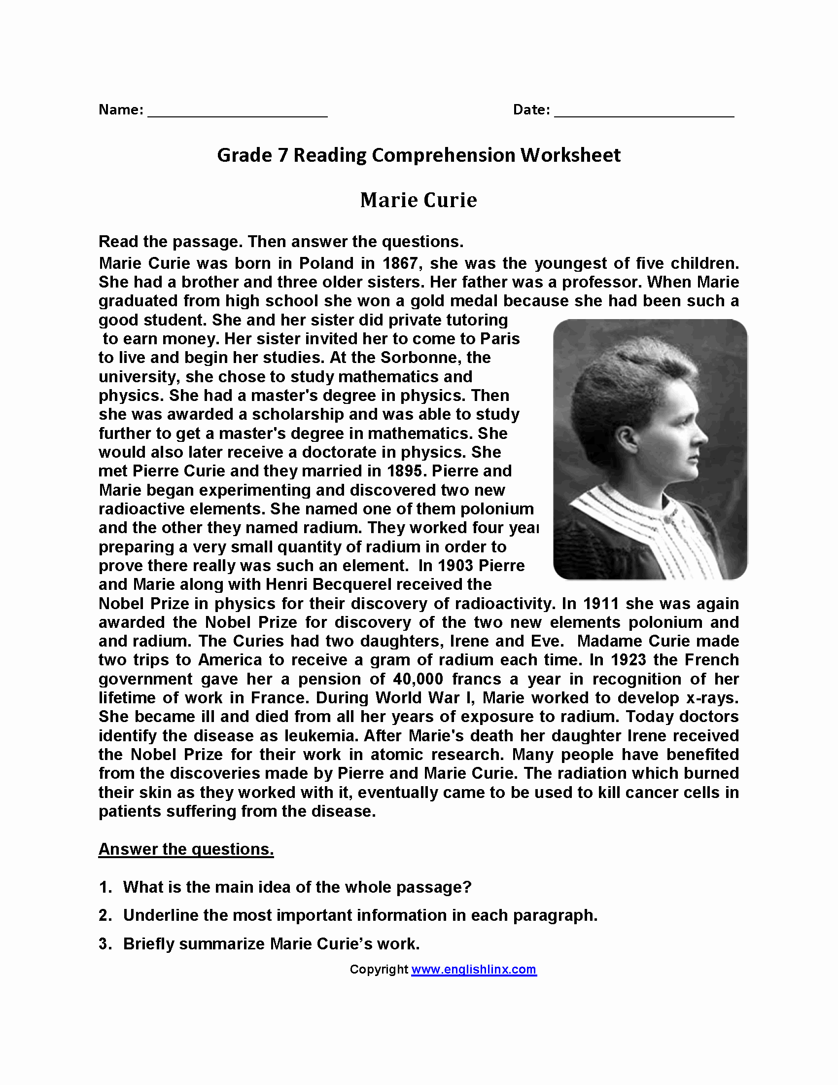 Free 7th Grade Reading Worksheets Luxury Seventh Grade 7th Grade English Worksheets with Answer Key