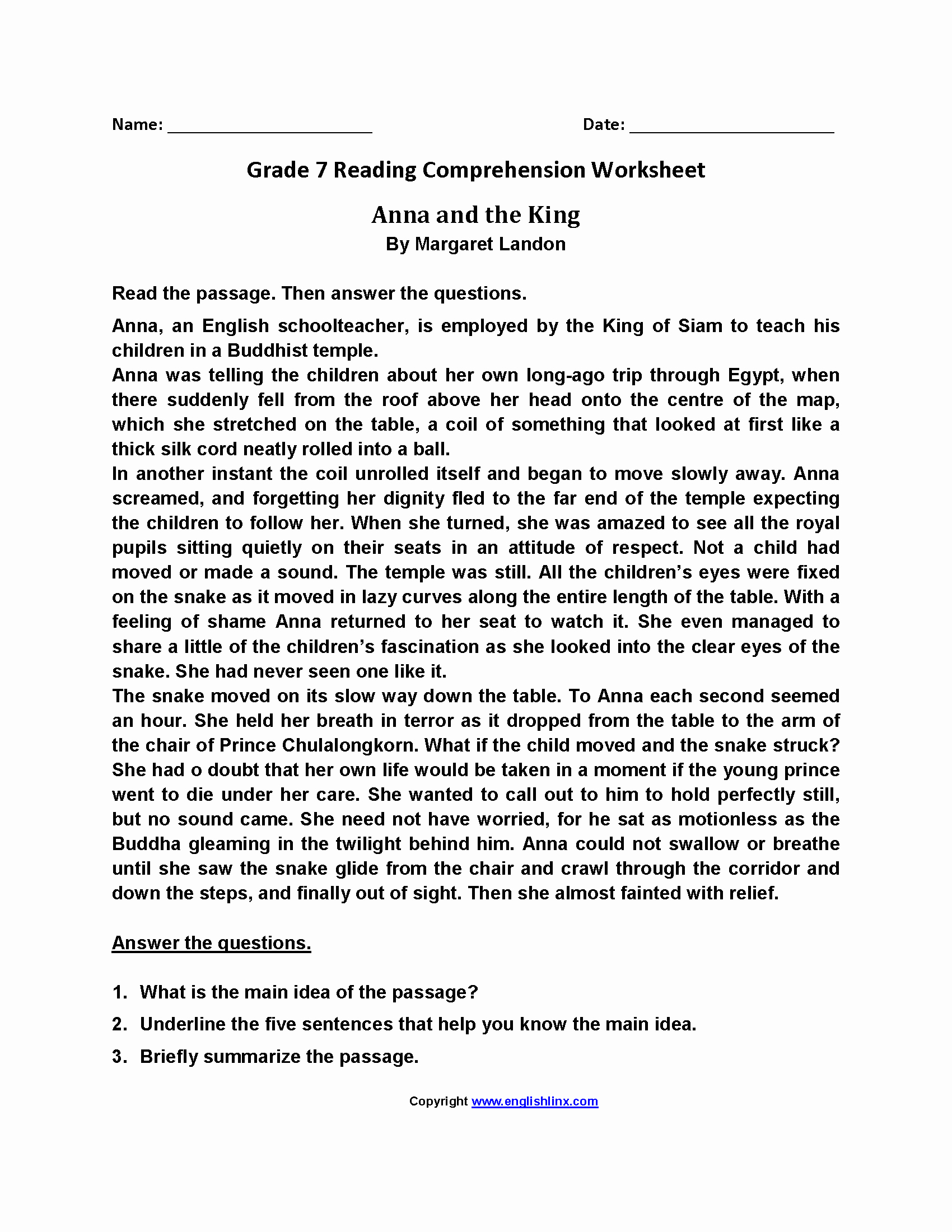 Free 7th Grade Reading Worksheets New Reading Worksheets