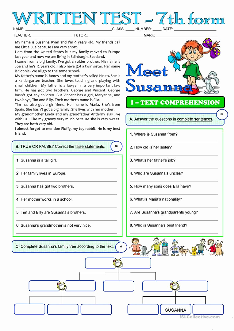 Free 7th Grade Reading Worksheets New Susanna S Family 3 Page Test 7th Grade English Esl