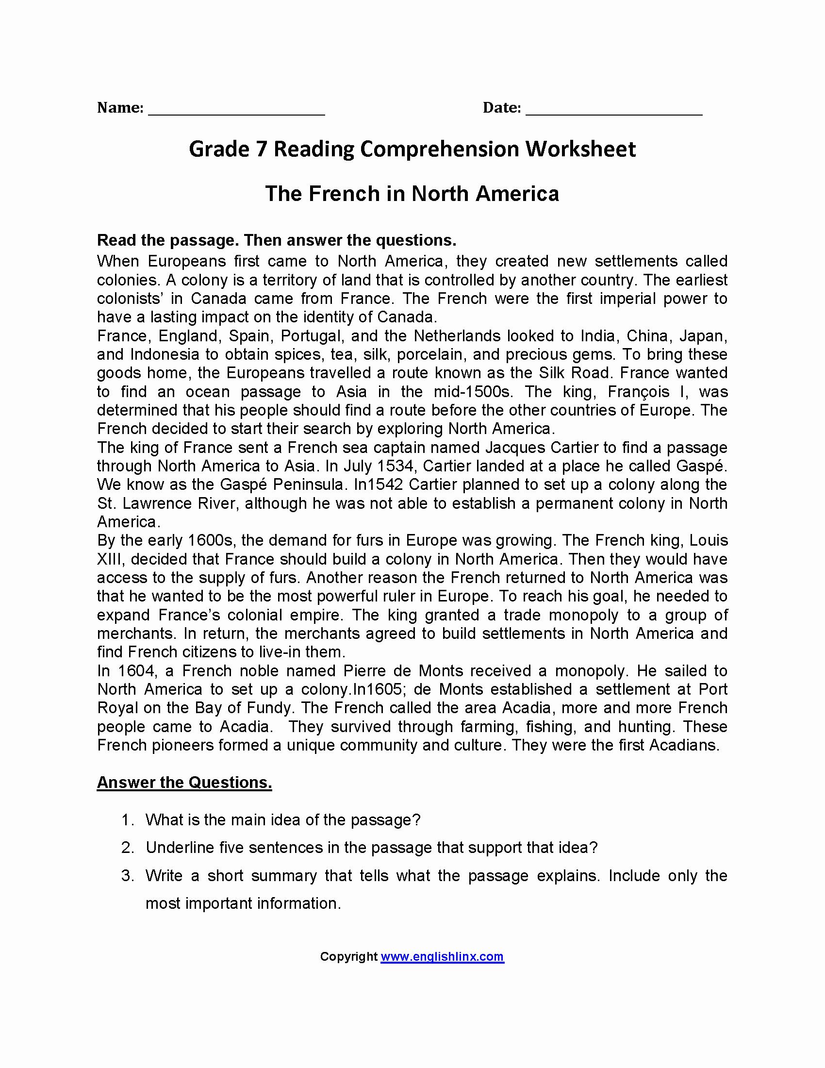 Free 7th Grade Reading Worksheets Unique Grade 7 Reading Prehension Worksheets Pdf