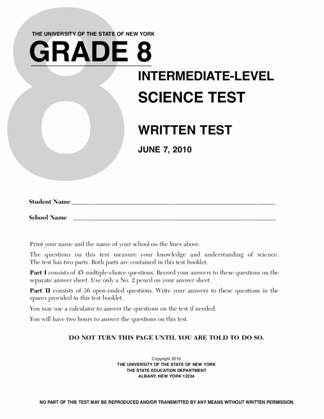 Free 8th Grade Science Worksheets Awesome Grade 8 Science Test New York State University Worksheet