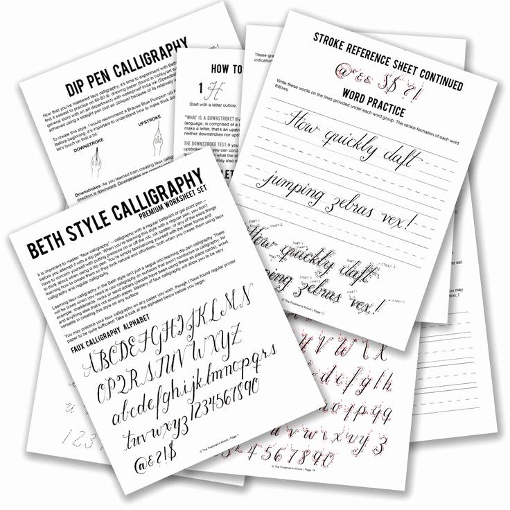 Free Calligraphy Worksheets Printable Elegant Printable Calligraphy Worksheet Set Beth Style