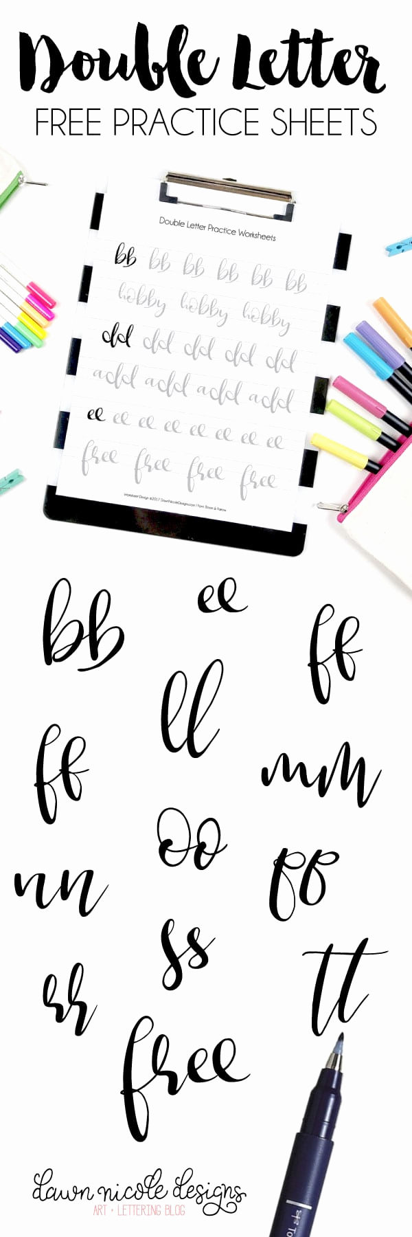Free Calligraphy Worksheets Printable Luxury Double Letter Free Brush Calligraphy Practice Worksheets