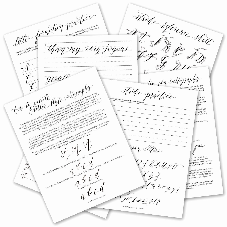 Free Calligraphy Worksheets Printable Luxury Premium Calligraphy Worksheet Set Kaitlin Style
