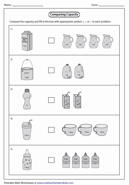 Free Capacity Worksheets Awesome Capacity Worksheets