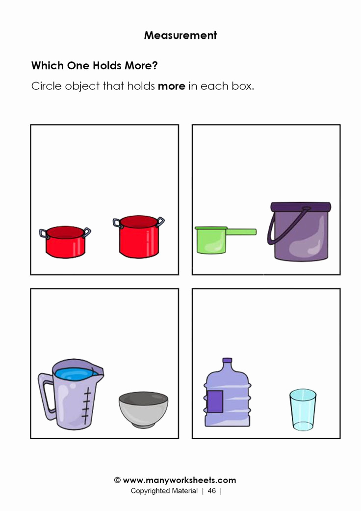Free Capacity Worksheets Beautiful Capacity Worksheets for Kindergarten