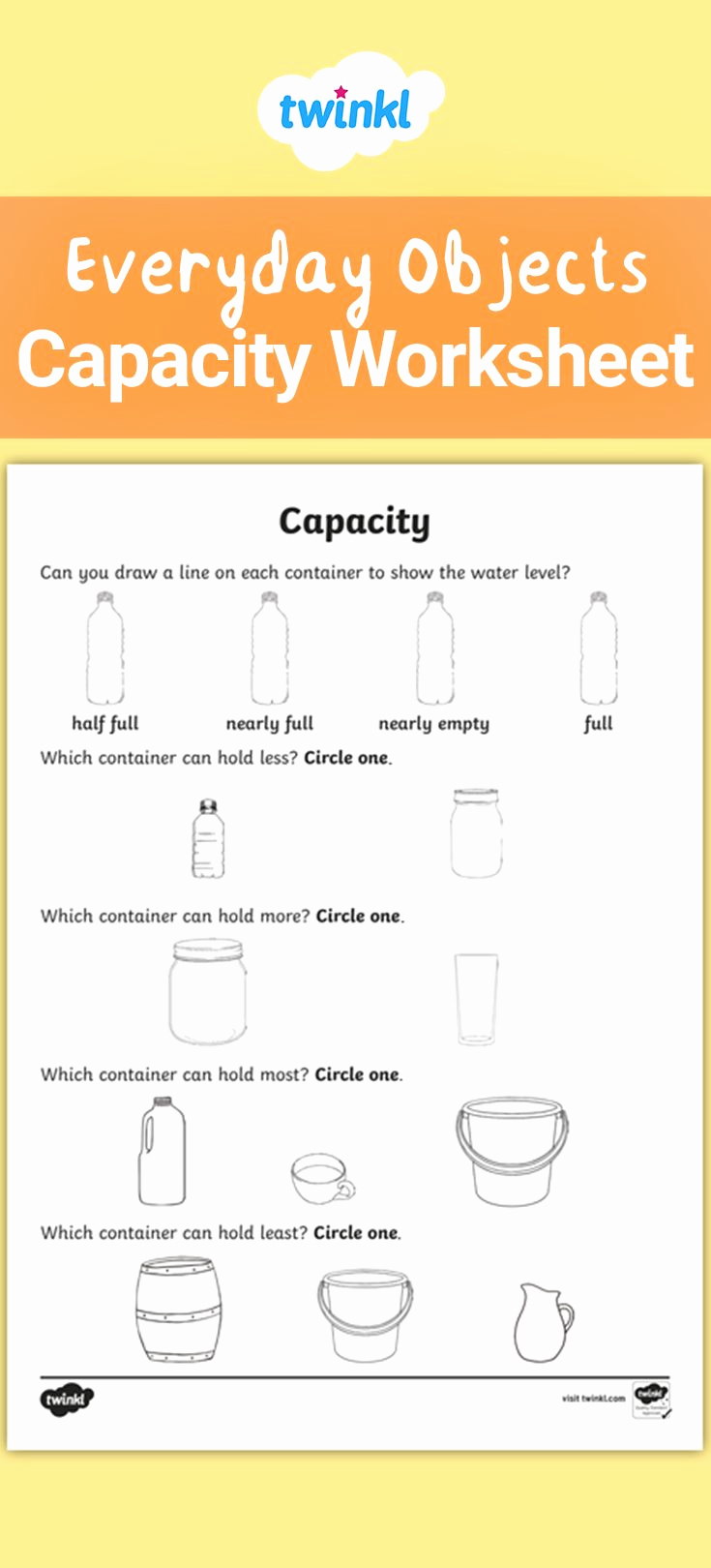 Free Capacity Worksheets Fresh Everyday Objects Capacity Worksheet