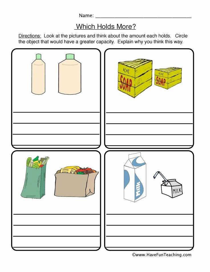 Free Capacity Worksheets Inspirational Capacity Worksheets Kindergarten which Holds More Capacity