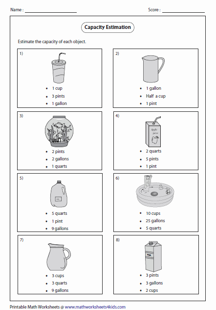 Free Capacity Worksheets Lovely Capacity Worksheets