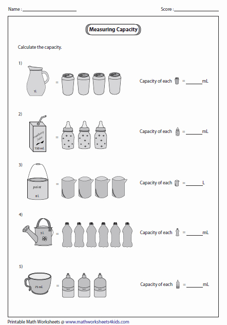 Free Capacity Worksheets New Capacity Worksheets