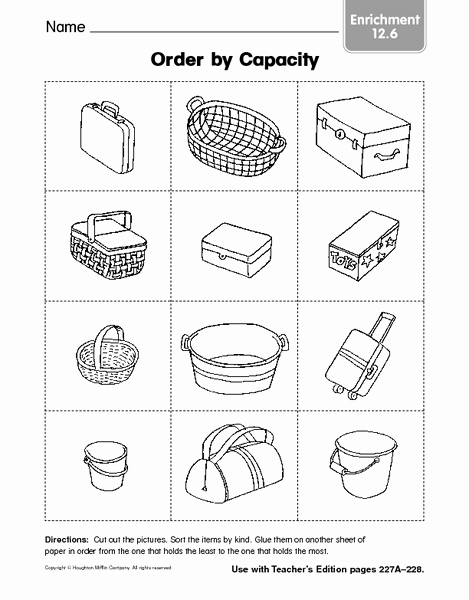 Free Capacity Worksheets New order by Capacity Enrichment 12 6 Worksheet for