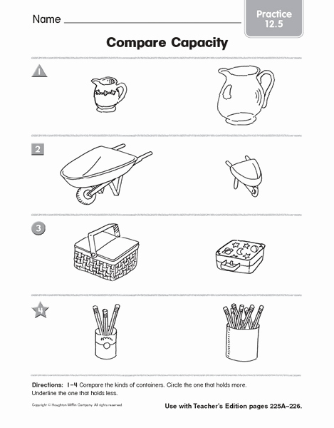 Free Capacity Worksheets New Pare Capacity Practice 12 5 Worksheet for Pre K