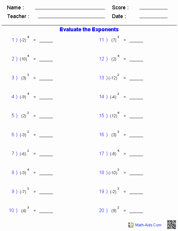Free Exponent Worksheets Beautiful 15 Best Of Math Worksheets Exponents Exponents
