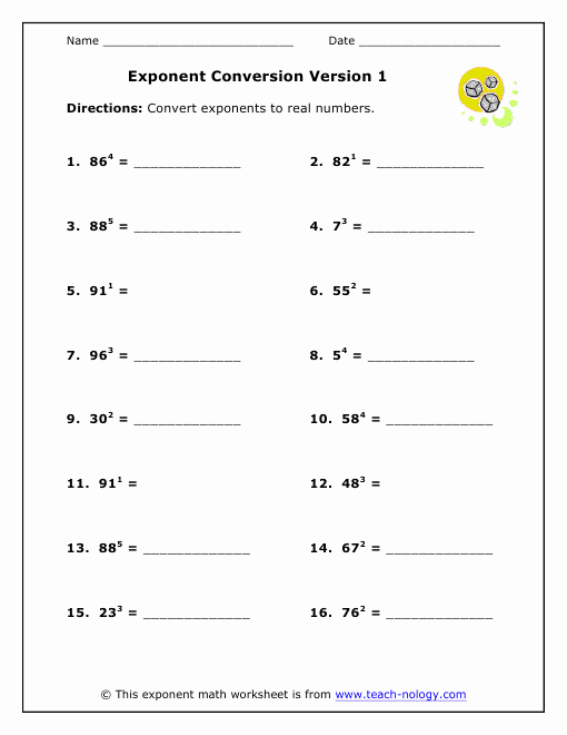 Free Exponent Worksheets Luxury Exponent Worksheet