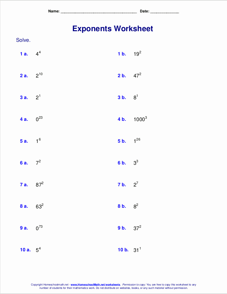 Free Exponent Worksheets Unique Exponents Worksheets