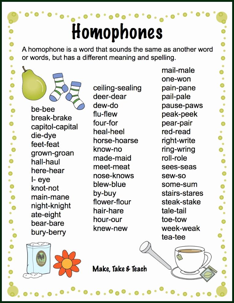 Free Homophone Worksheets Unique Teaching Homophones Make Take & Teach