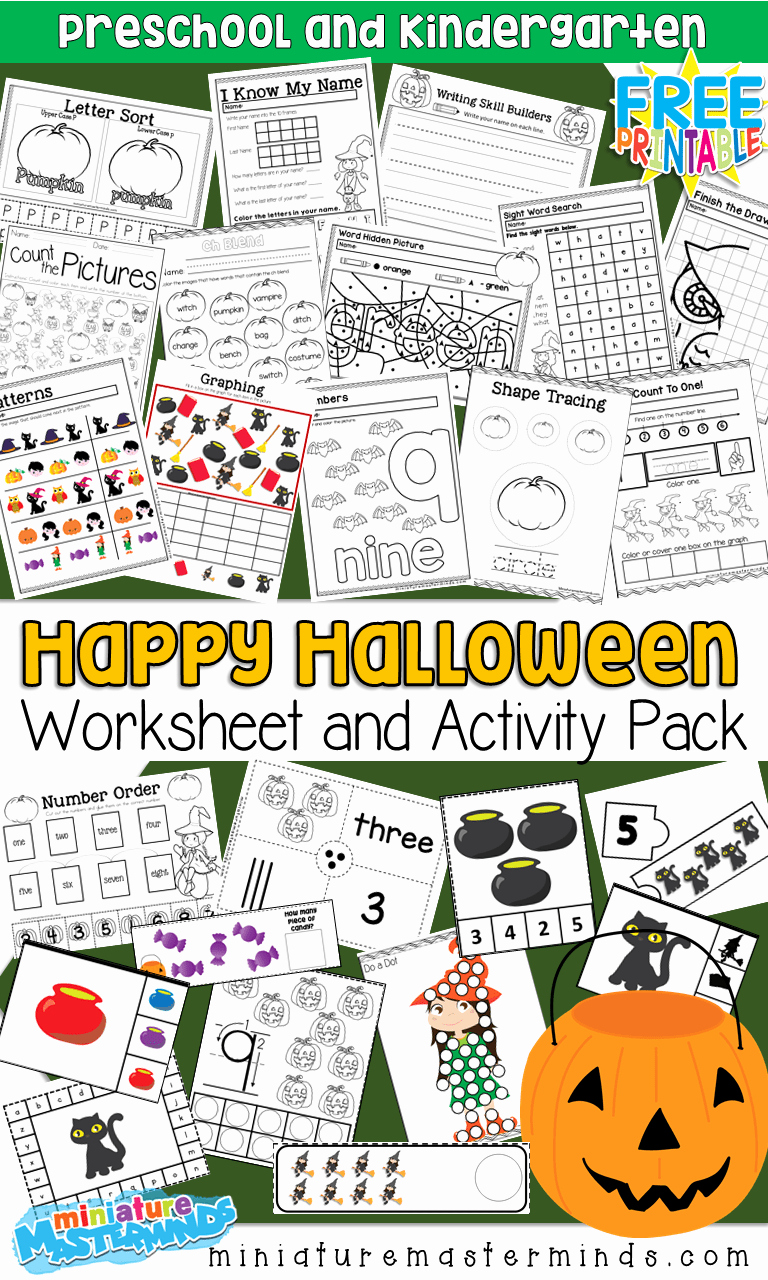 Free Kindergarten Halloween Worksheets Printable Beautiful Free Printable 100 Page Preschool and Kindergarten
