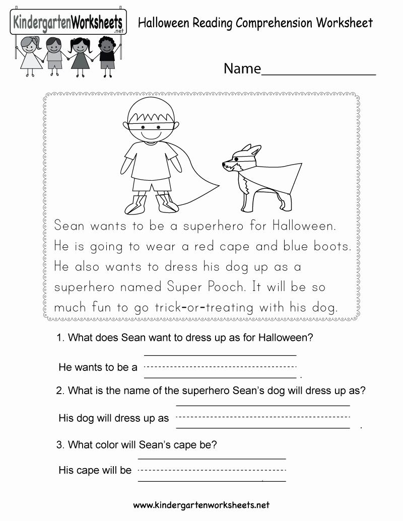 Free Kindergarten Halloween Worksheets Printable Beautiful Free Printable Halloween Reading Prehension Worksheet