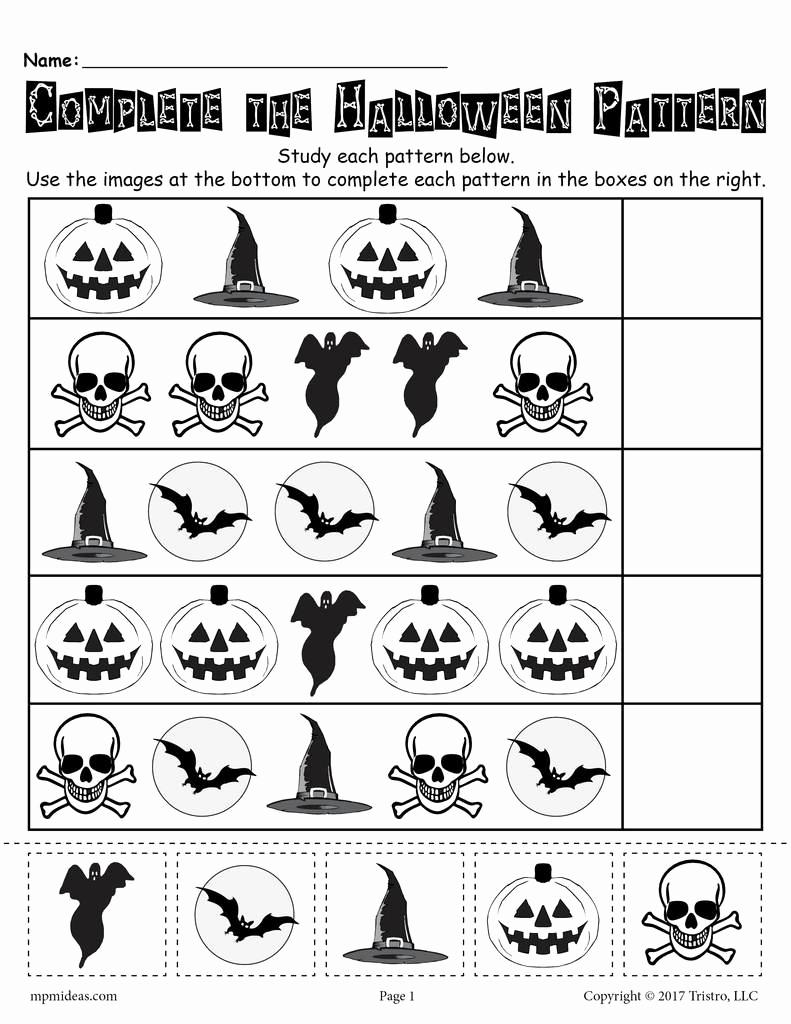 Free Kindergarten Halloween Worksheets Printable Beautiful Printable Halloween Pattern Worksheet – Supplyme