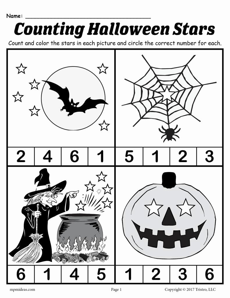 Free Kindergarten Halloween Worksheets Printable Best Of Printable Preschool Halloween Counting Worksheet – Supplyme