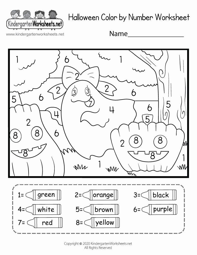 Free Kindergarten Halloween Worksheets Printable Luxury Halloween Color by Number Worksheet for Kindergarten Free
