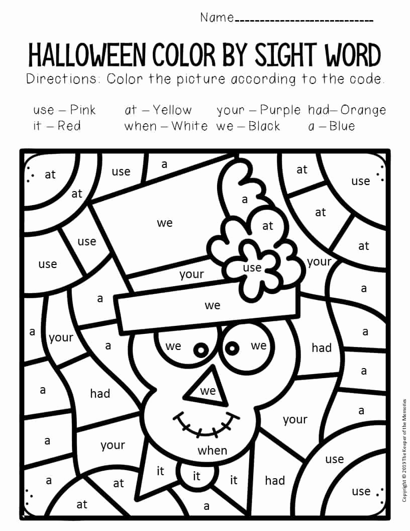 Free Kindergarten Halloween Worksheets Printable Unique Skeleton Color by Sight Word Halloween Kindergarten
