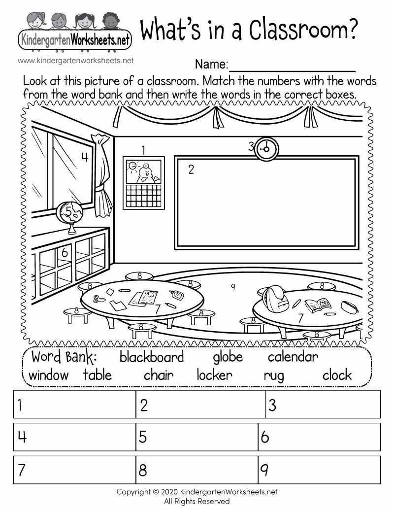 Free Kindergarten social Studies Worksheets Awesome Kindergarten Classroom Worksheet In 2020