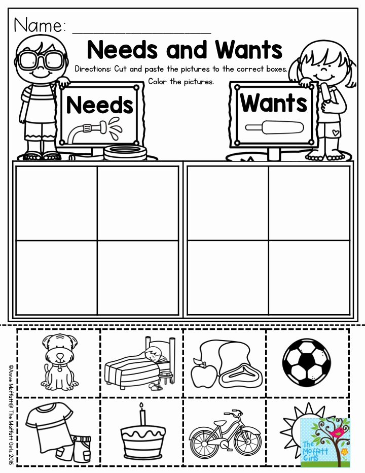 Free Kindergarten social Studies Worksheets Awesome Needs and Wants Parents Will Love You for This One