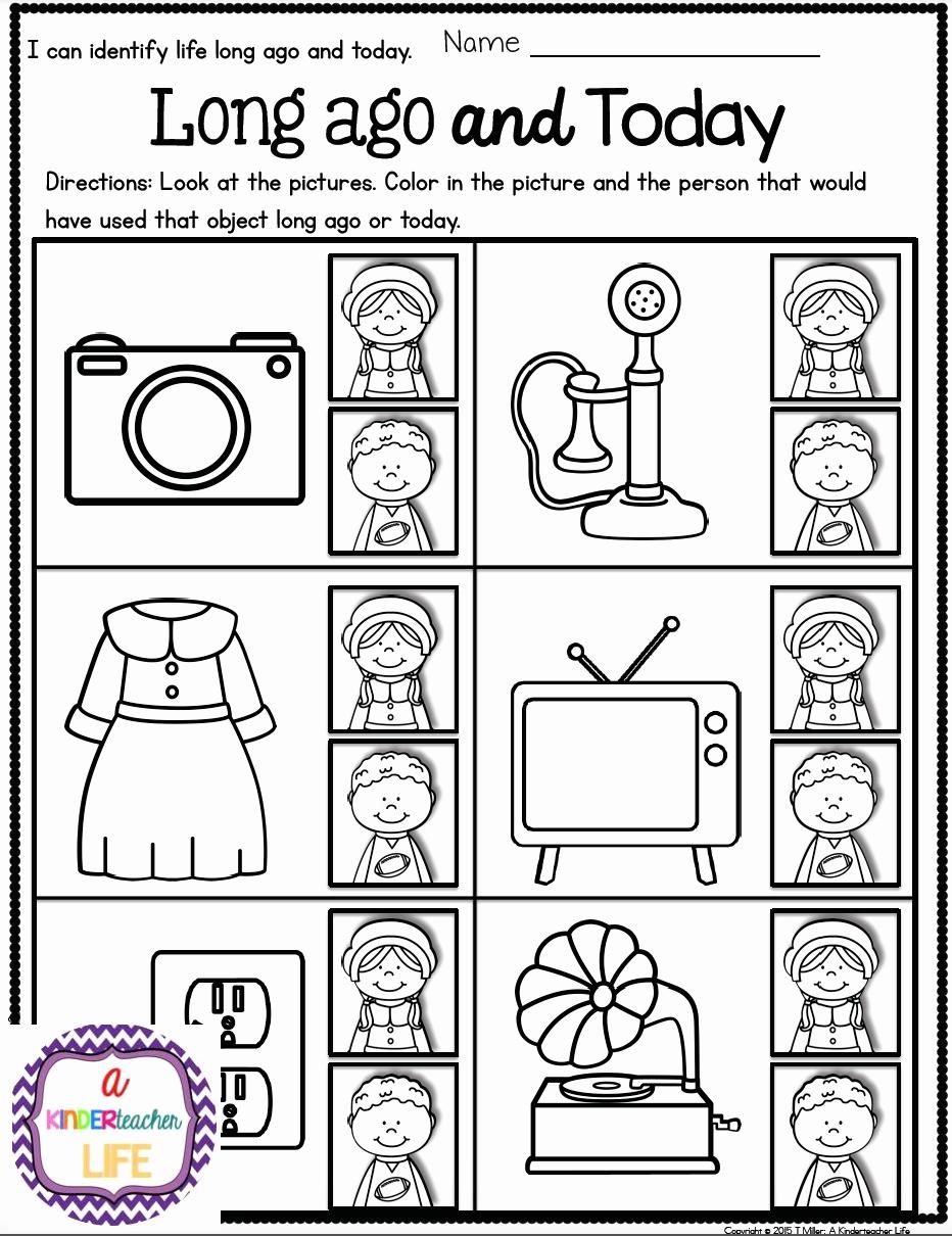 Free Kindergarten social Studies Worksheets Elegant Life Long Ago and today Activities and sorting Worksheets