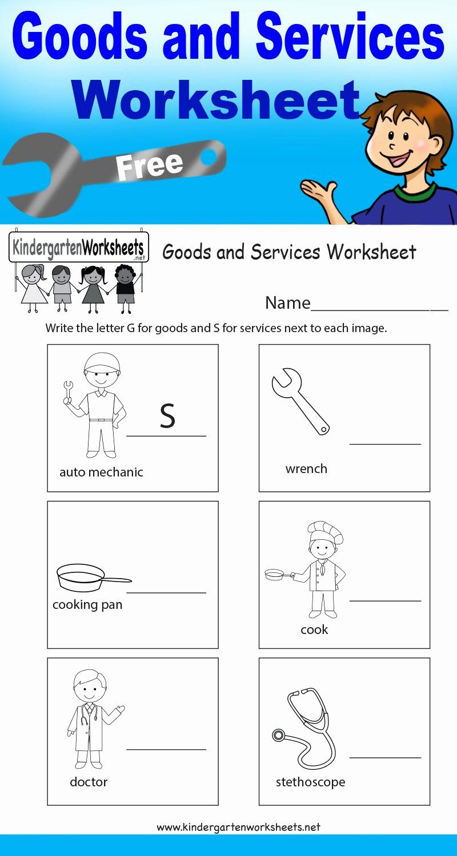 Free Kindergarten social Studies Worksheets Elegant This Worksheet Teaches Kids the Difference Between Goods