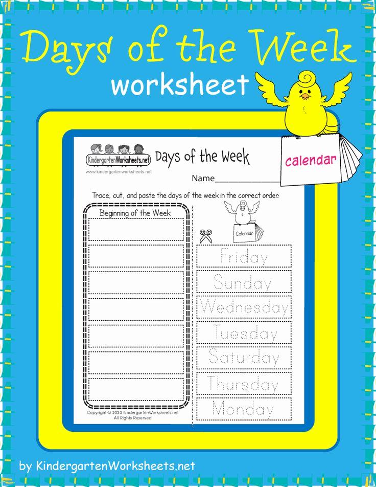 Free Kindergarten social Studies Worksheets New Free Days Of the Week Worksheet In 2020