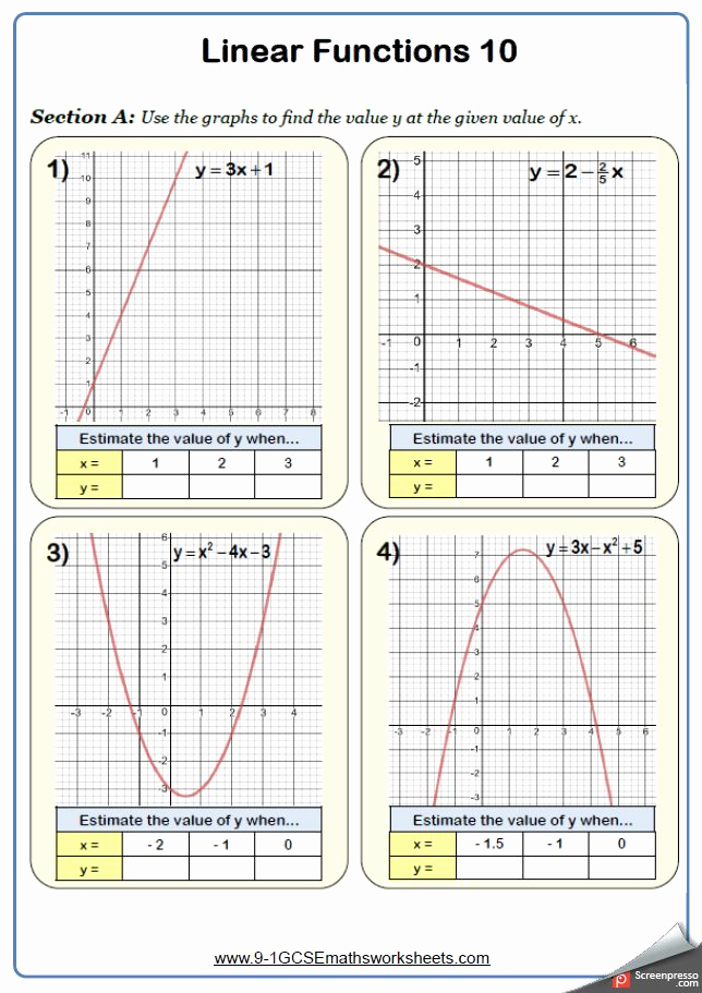 Free Line Graph Worksheets Best Of Straight Line Graphs Worksheet Practice Questions In 2020