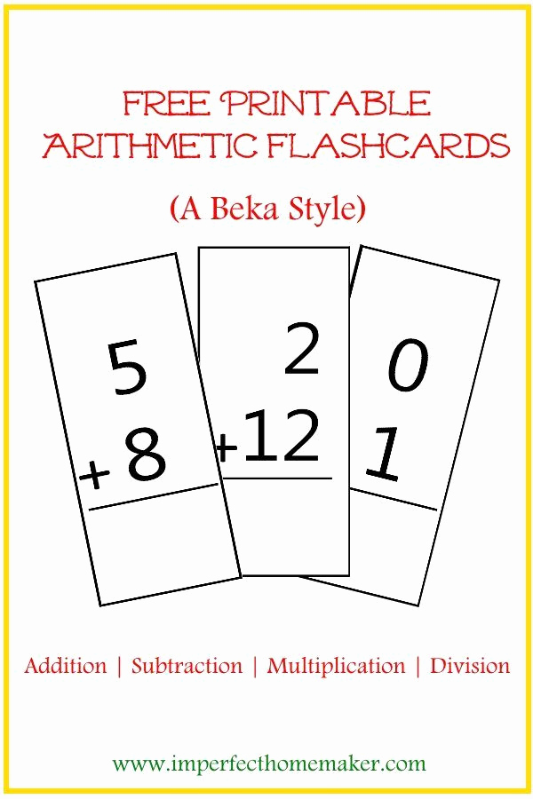 Free Printable Abeka Worksheets Elegant Free Printable Abeka Style Arithmetic Flash Cards