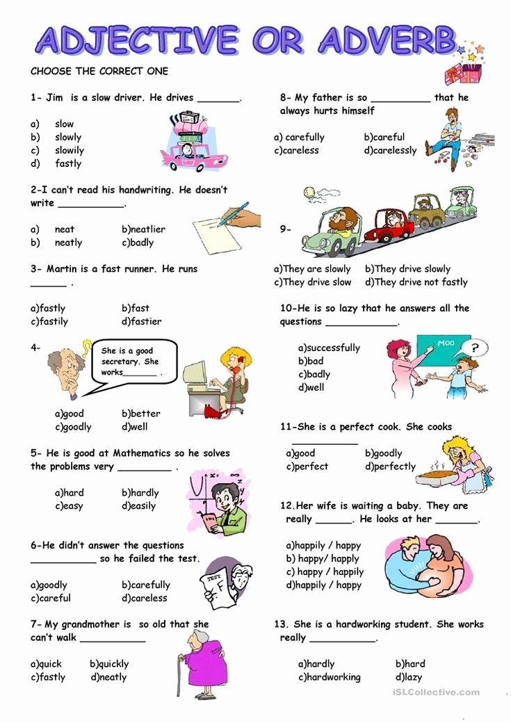 Free Printable Adjective Worksheets Awesome Adjective or Adverb Worksheet Free Esl Printable
