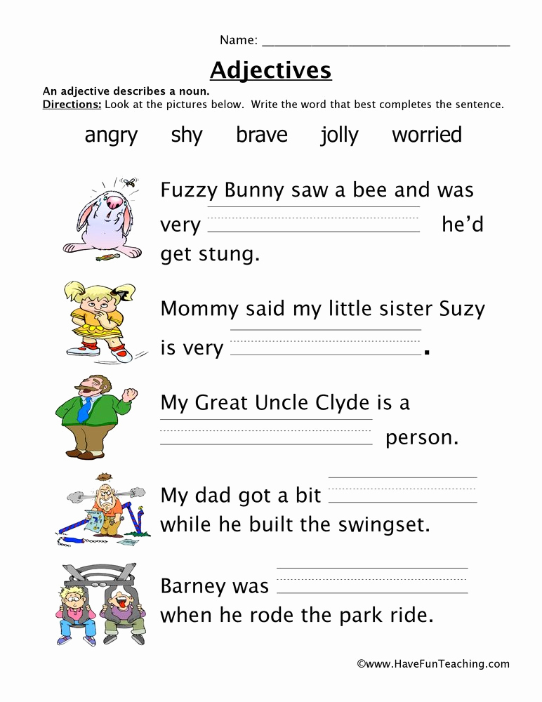 Free Printable Adjective Worksheets Best Of Adjectives Worksheet