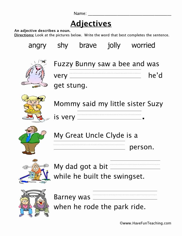 Free Printable Adjective Worksheets Best Of Adjectives Worksheet