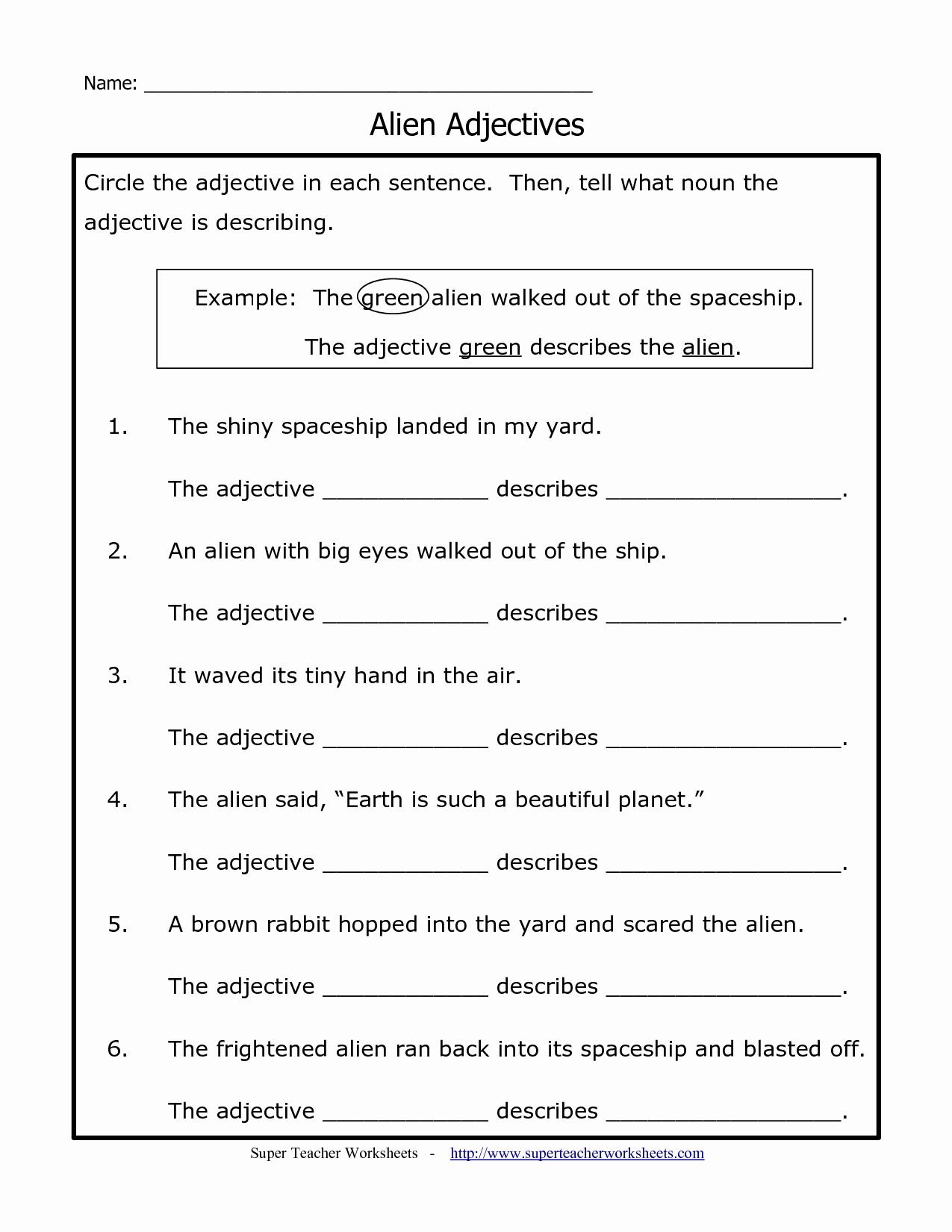 Free Printable Adjective Worksheets Elegant Printable Adjective Worksheet for 2nd Grade