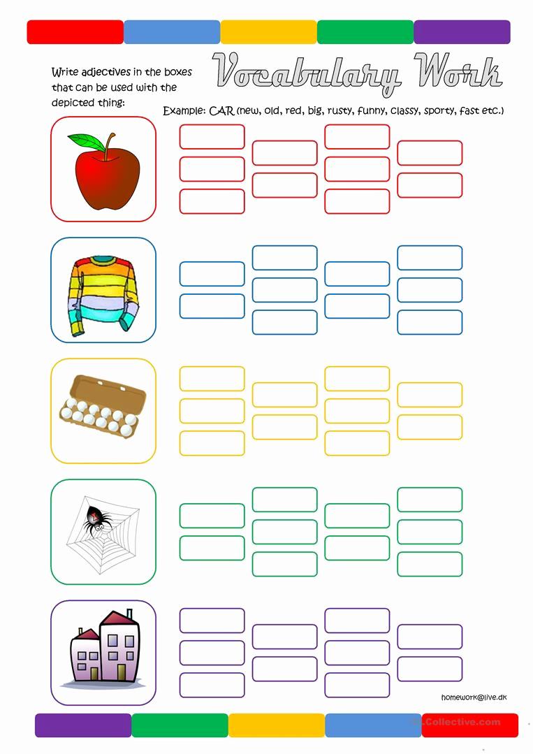 Free Printable Adjective Worksheets Elegant Vocabulary Work Adjectives Worksheet Free Esl