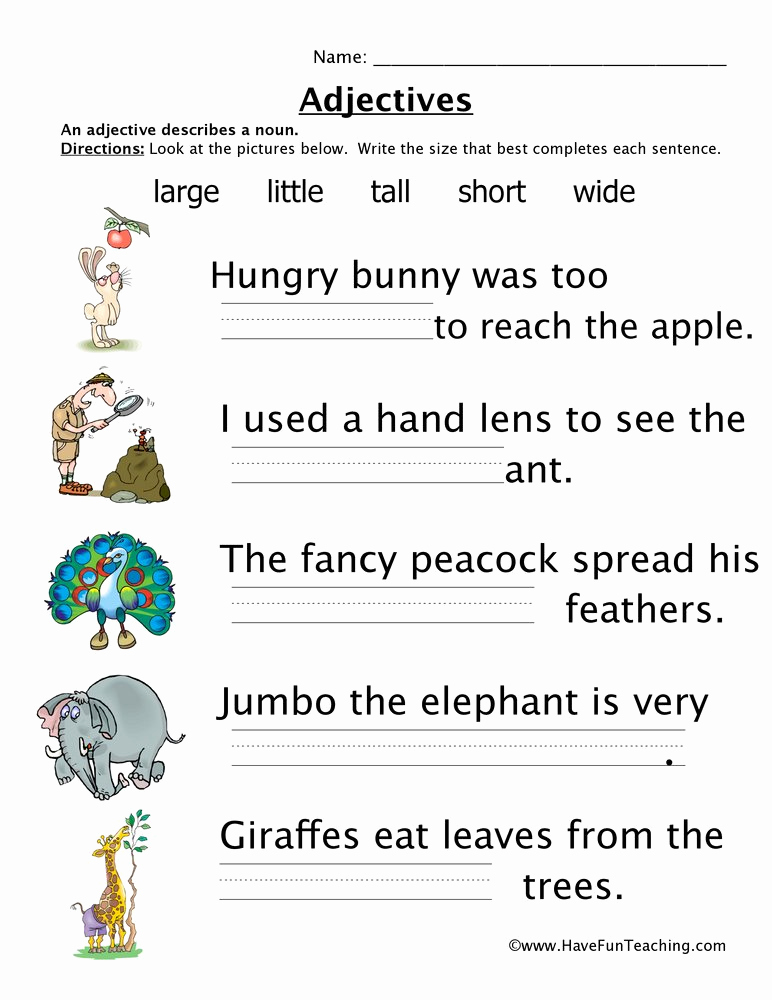 Free Printable Adjective Worksheets Lovely Adjectives Size Worksheet • Have Fun Teaching