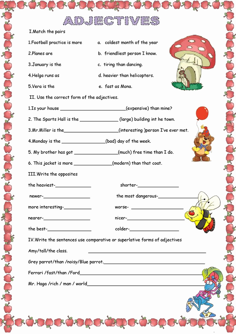 Free Printable Adjective Worksheets Lovely Adjectives Worksheet Free Esl Printable Worksheets Made